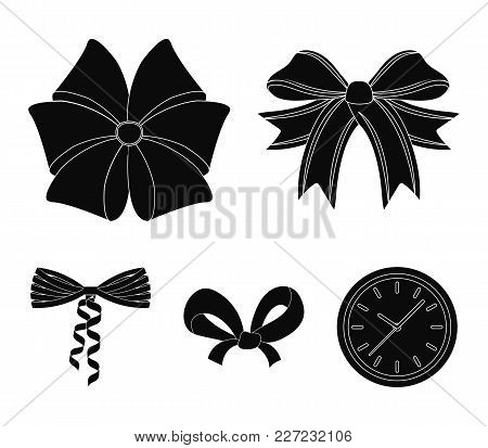 Bow, Ribbon, Decoration, And Other  Icon In Black Style. Gift, Bows, Node, Icons In Set Collection.