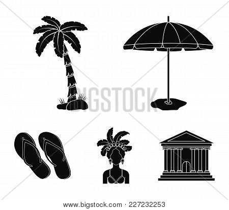 Brazil, Country, Umbrella, Beach . Brazil Country Set Collection Icons In Black Style Vector Symbol