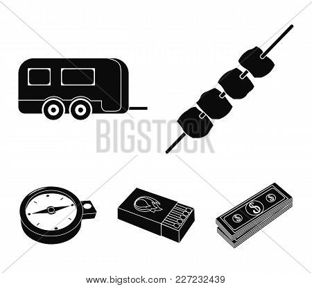 Trailer, Shish Kebab, Matches, Compass. Camping Set Collection Icons In Black Style Vector Symbol St