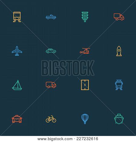 Transport Icons Line Style Set With Aerostat, Caravan, Auto And Other Helicopter Elements. Isolated
