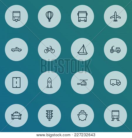 Transport Icons Line Style Set With Bicycle, Cab, Carriage And Other Pickup Elements. Isolated Vecto