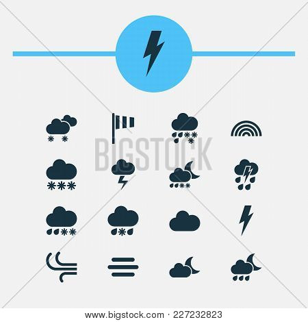 Climate Icons Set With Snow, Thundershower, Sleet And Other Thunderstorm Elements. Isolated Vector I