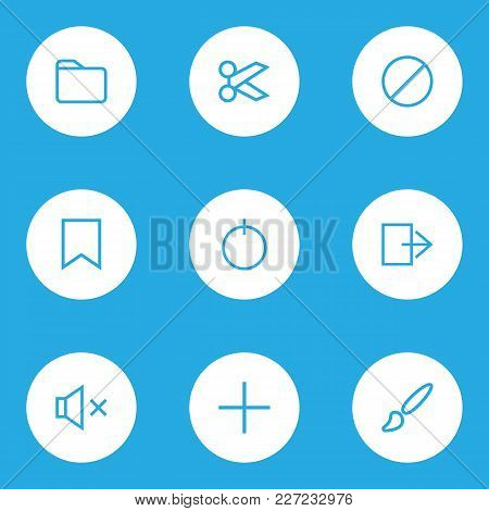 Interface Icons Line Style Set With Forbidden, Painting, Dossier And Other Brush Elements. Isolated