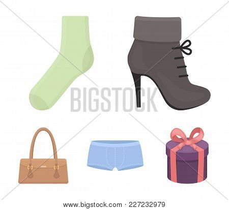 Women's Boots, Socks, Shorts, Ladies' Bag. Clothing Set Collection Icons In Cartoon Style Vector Sym