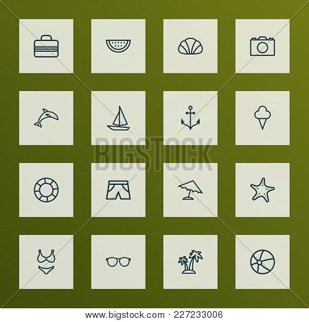 Summer Icons Line Style Set With Melon , Handbag, Volleyball Beachwear Elements. Isolated Vector Ill