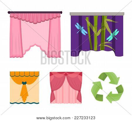 Embroidery, Textiles, Furniture And Other  Icon In Cartoon Style.curtains, Stick, Cornices, Icons In