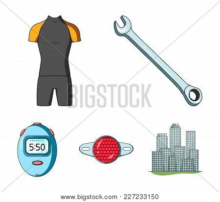 A Wrench, A Bicyclist's Bone, A Reflector, A Timer.cyclist Outfit Set Collection Icons In Cartoon St