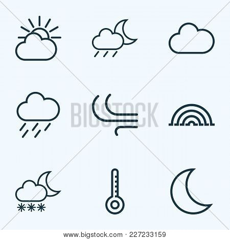 Weather Icons Line Style Set With Wind, Nigth, Arc And Other Temperature Elements. Isolated Vector I
