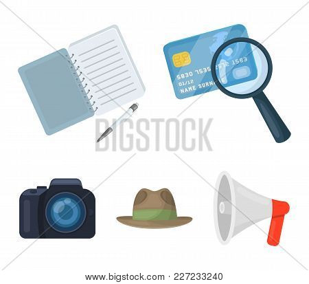 Camera, Magnifier, Hat, Notebook With Pen.detective Set Collection Icons In Cartoon Style Vector Sym