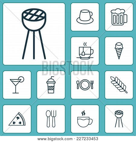 Cafe Icons Set With Pizza, Soft Drink, Disposable Tea And Other Grill Elements. Isolated Vector Illu