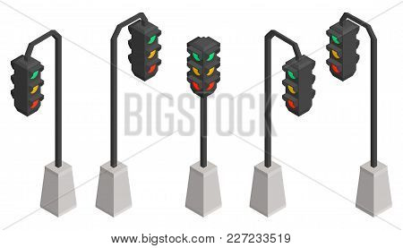 Isometric Traffic Lights Vector Iron Collection Desing