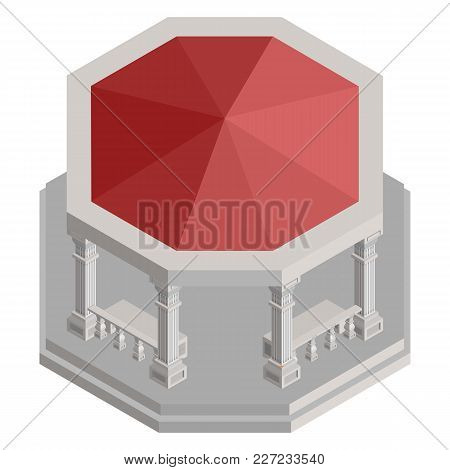 Isometric Pavilion For Relaxation With Red Roof Vector