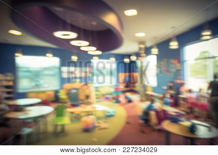 Blurred Colorful Children Space At Public Library In America