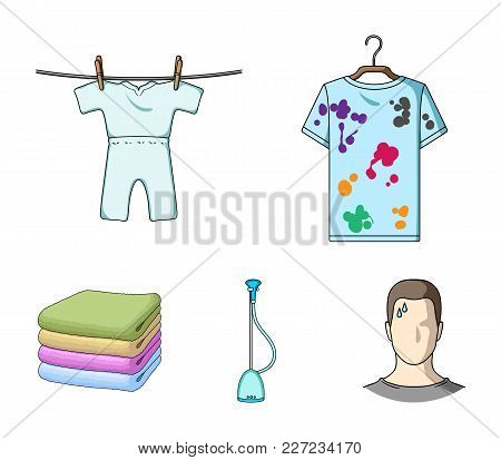 Vacuum Cleaner, A Stack Of Cloth, Dirty And Clean Things. Dry Cleaning Set Collection Icons In Carto