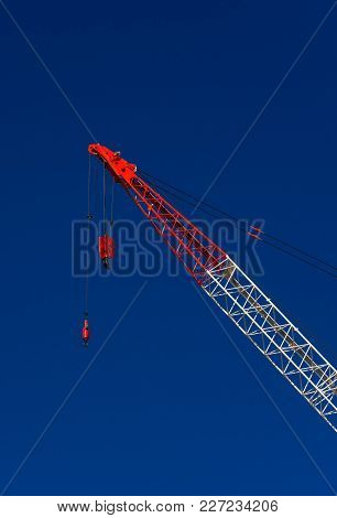 Mobile Construction Crane With Hook At Work
