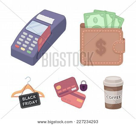 Purse, Money, Touch, Hanger And Other Equipment. E Commerce Set Collection Icons In Cartoon Style Ve