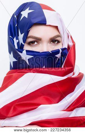 Beautiful Arab Woman Wearing A Hijab From The American Flag