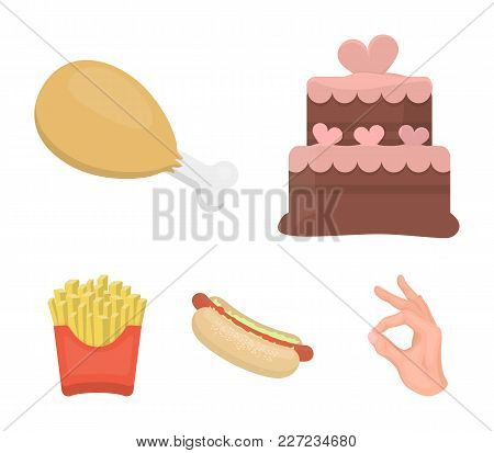 Cake, Ham, Hot Dog, French Fries.fast Food Set Collection Icons In Cartoon Style Vector Symbol Stock