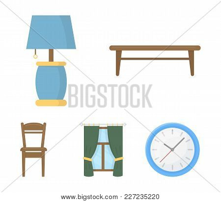 A Coffee Table, A Lamp, Curtains, A Chair.furniture Set Collection Icons In Cartoon Style Vector Sym