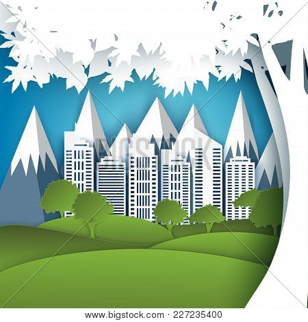 White Paper Skyscrapers, Trees, Mountains. Achitectural Building In Panoramic View. Modern City Skyl