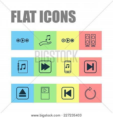 Audio Icons Set With Player, Extract Device, Following Song And Other Music Control Elements. Isolat