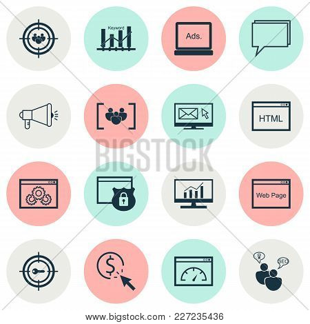 Advertising Icons Set With Target Promotion, Comprehensive Analytics, Display Advertising And Other