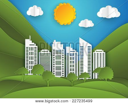 White Paper Skyscrapers, Trees, Hills, Clouds And Sun. Achitectural Building In Panoramic View. Mode