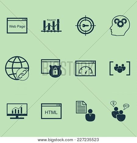 Advertising Icons Set With Html Code, Website Protection, Target Promotion And Other Keyword Marketi