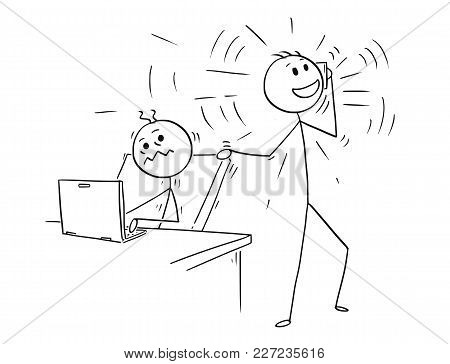 Cartoon Stick Man Drawing Conceptual Illustration Of Businessman Or Office Worker Disturbed By Mobil