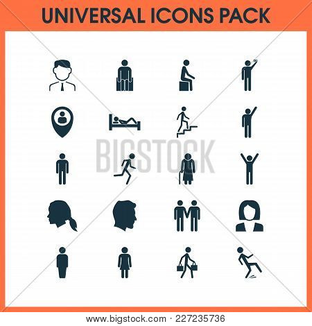 Person Icons Set With Doing Selfie, Pupil, Sitting And Other Ladder Elements. Isolated  Illustration