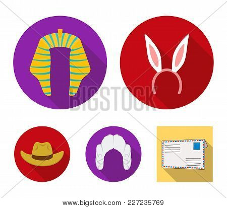Rabbit Ears, Judge Wig, Cowboy. Hats Set Collection Icons In Flat Style Vector Symbol Stock Illustra