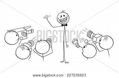 Cartoon Stick Man Drawing Illustration Of Male Star Celebrity With Large Crazy Artificial Smile Phot