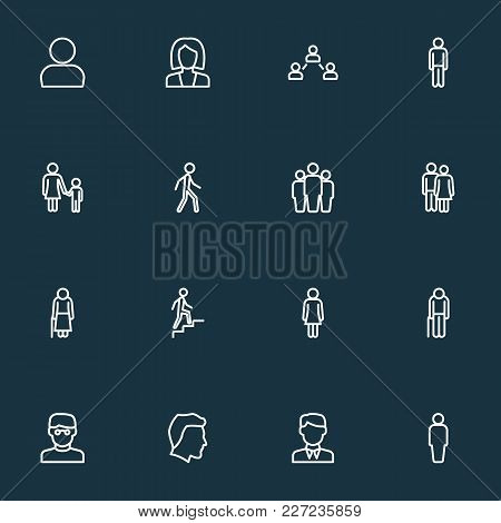 People Icons Line Style Set With Stairs, Old, Clever And Other Graybeard Elements. Isolated  Illustr