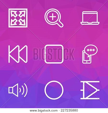 Media Icons Line Style Set With Stop, Widen, Record And Other Circle Elements. Isolated  Illustratio