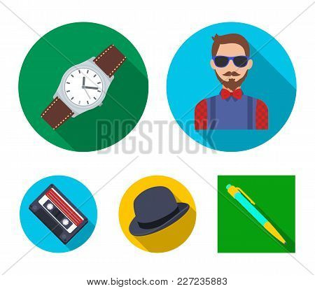 Hipster, Fashion, Style, Subculture .hipster Style Set Collection Icons In Flat Style Vector Symbol