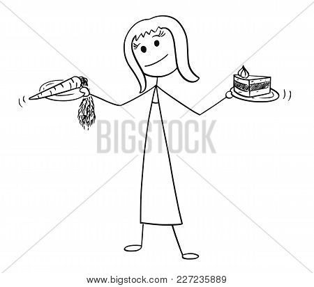 Cartoon Stick Man Drawing Conceptual Illustration Of Woman With Healthy Vegetable Carrot And Unhealt