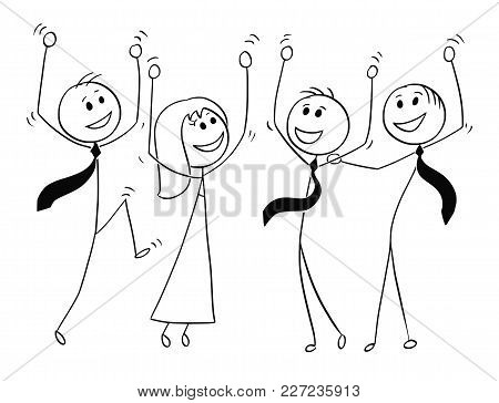 Cartoon Stick Man Drawing Conceptual Illustration Of Group Or Team Of Business People Celebrating Su