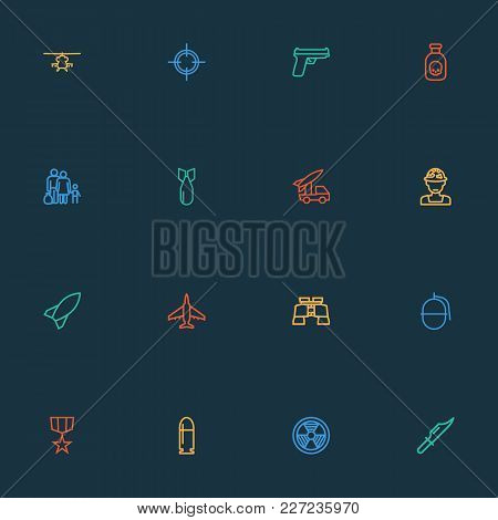 Warfare Icons Line Style Set With Fighter, Sniper, Artillery And Other Aircraft  Elements. Isolated