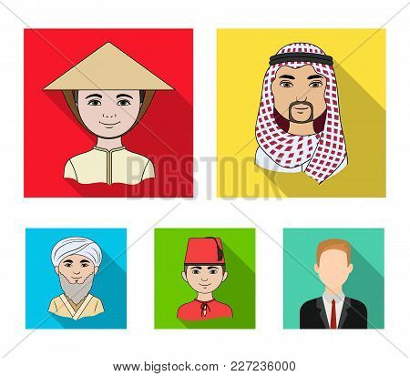 Arab, Turks, Vietnamese, Middle Asia Man. Human Race Set Collection Icons In Flat Style Vector Symbo