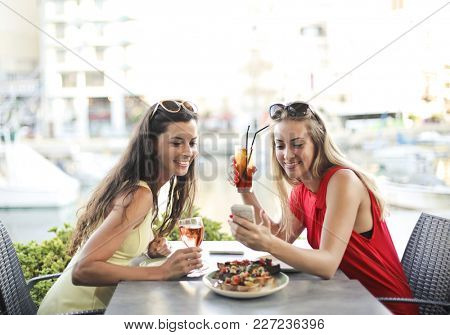 Girl eating an aperitiv