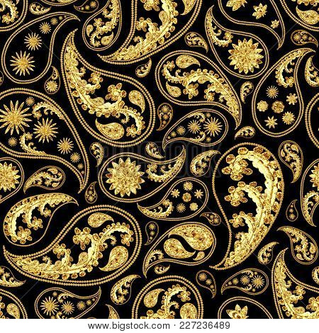 Paisley Gold And Black Seamless Pattern. Hand Drawn Golden Traditional Asian Ethnic Oriental Arabic