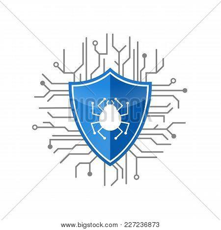 Blue Shield Antivirus Logo With Digital Cobweb Vector Illustration. Secure Logo For Software Design
