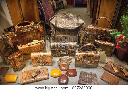 Leather bags and accessories in shop