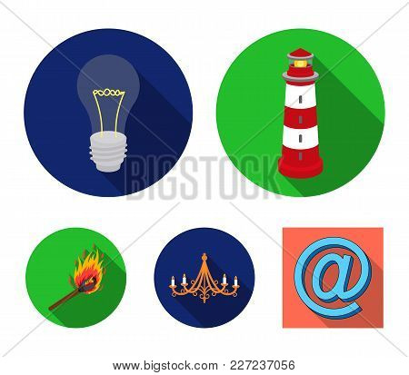 A Lighthouse, An Incandescent Lamp, A Chandelier With Candles, A Burning Match.light Source Set Coll