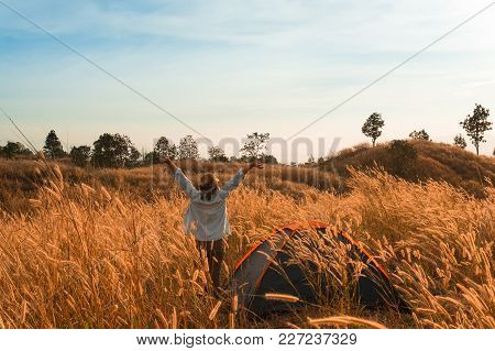 Outdoors Camping Grass Highlands Mountain In The Sunset.