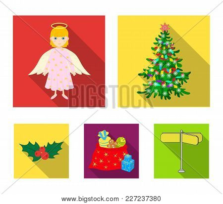 Christmas Tree, Angel, Gifts And Holly Flat Icons In Set Collection For Design. Christmas Vector Sym