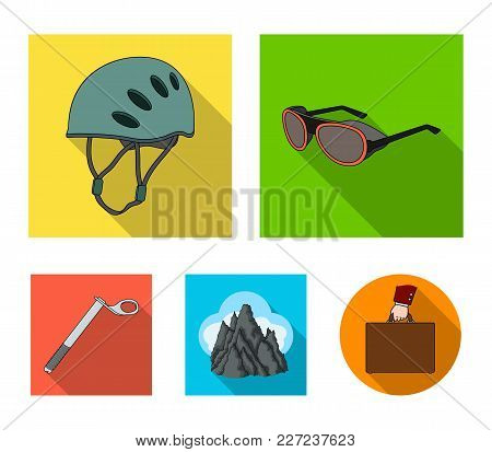 Helmet, Goggles, Wedge Safety, Peaks In The Clouds.mountaineering Set Collection Icons In Flat Style