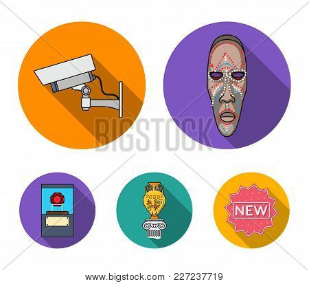 African Mask, Video Surveillance, Vase, Diamond Under The Dome. Museum Set Collection Icons In Flat