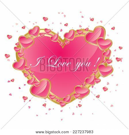 Valentines Day Abstract Background With Pink Heart. Vector Illustration. Vector Illustration Eps10