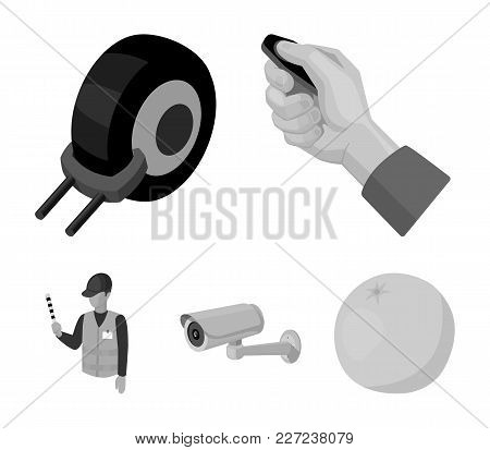 Car Alarm, Wheel Rim, Security Camera, Parking Assistant. Parking Zone Set Collection Icons In Monoc
